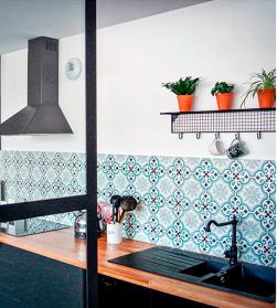 carreaux de ciment bleu en credence mosaic factory