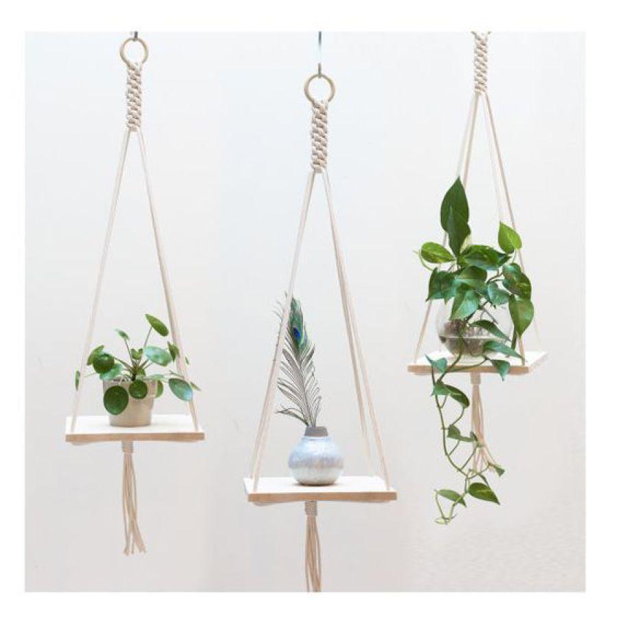 étagères suspendus macramé plantes