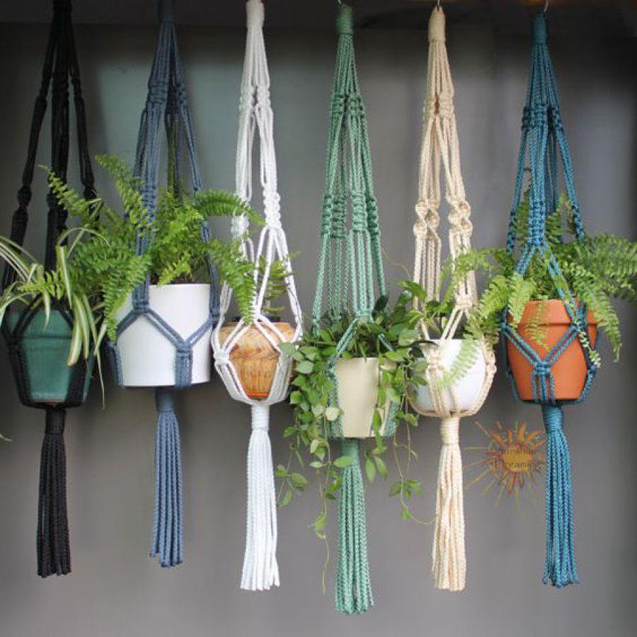 suspensions macramé plantes