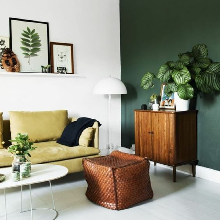 salon blanc et vert emeraude