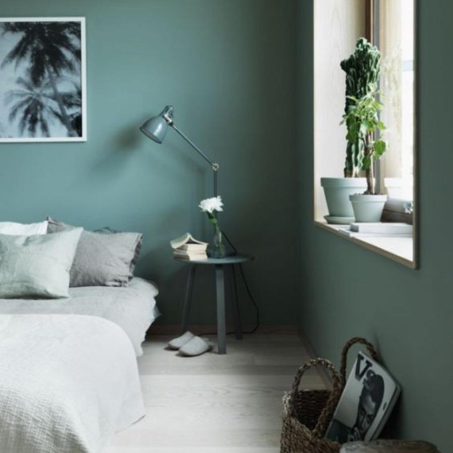 chambre contemporaine peinture verte