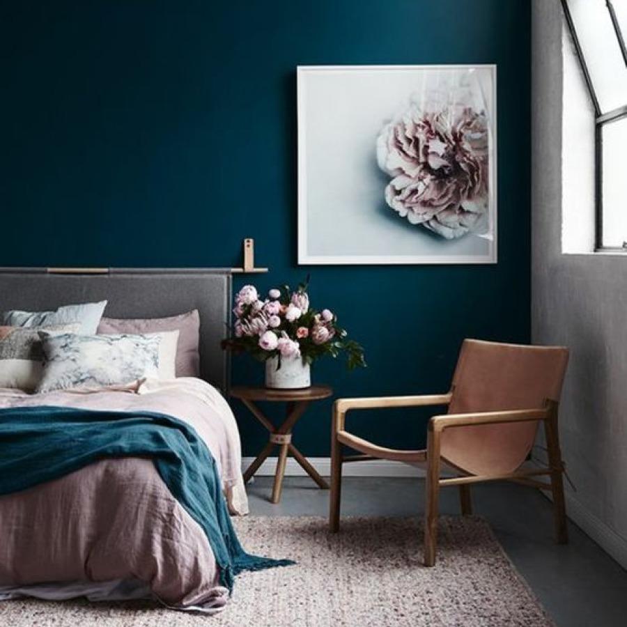 chambre bleu et rose blush