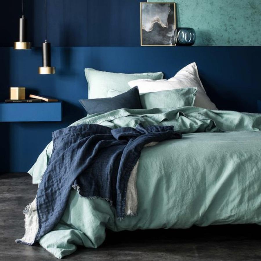chambre bleu et vert de gris